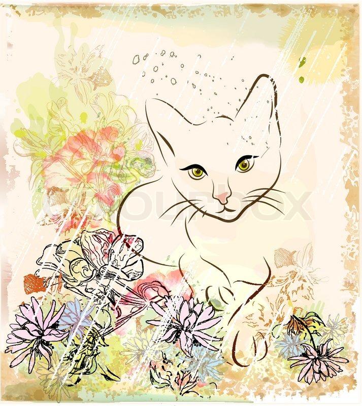 Abstrakter Hintergrund mit Katze eine Blumen | Vektorgrafik | Colourbox