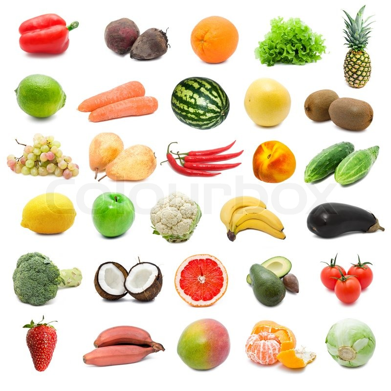 Large collection of fruits and vegetables isolated on white background high resolution stock - Fruit de la ronce commune ...