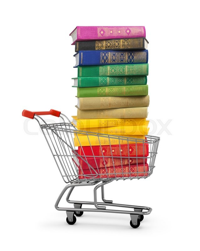 Stack of colorful books in shopping card on an isolated white ...