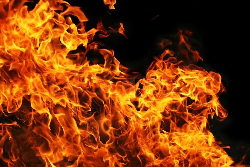 Fire Burning On Black Background Stock Photo Colourbox