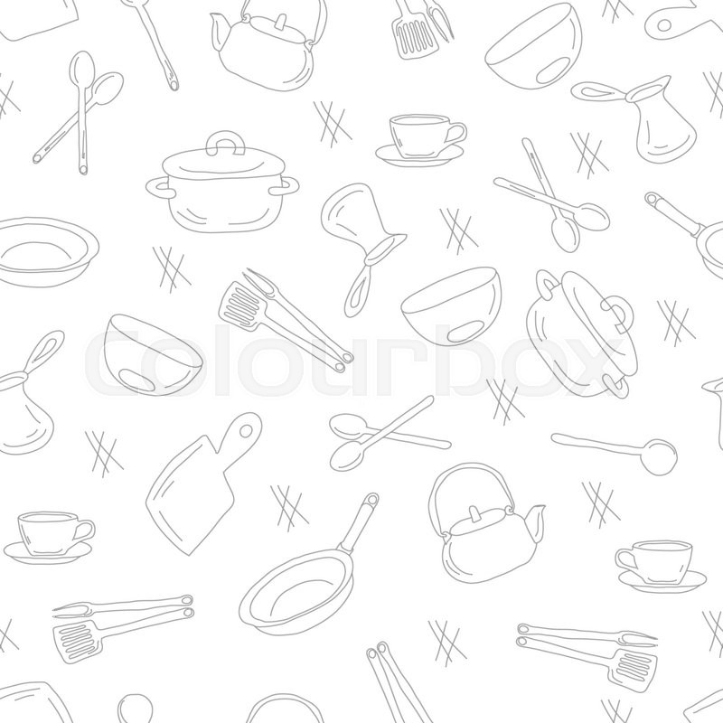 Kitchen Utensils Background kitchen utensils outline seamless pattern. picture of kitchen