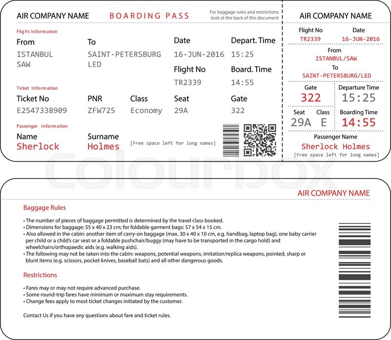 Simple And Clear Airplane Boarding Pass Template Isolated On White
