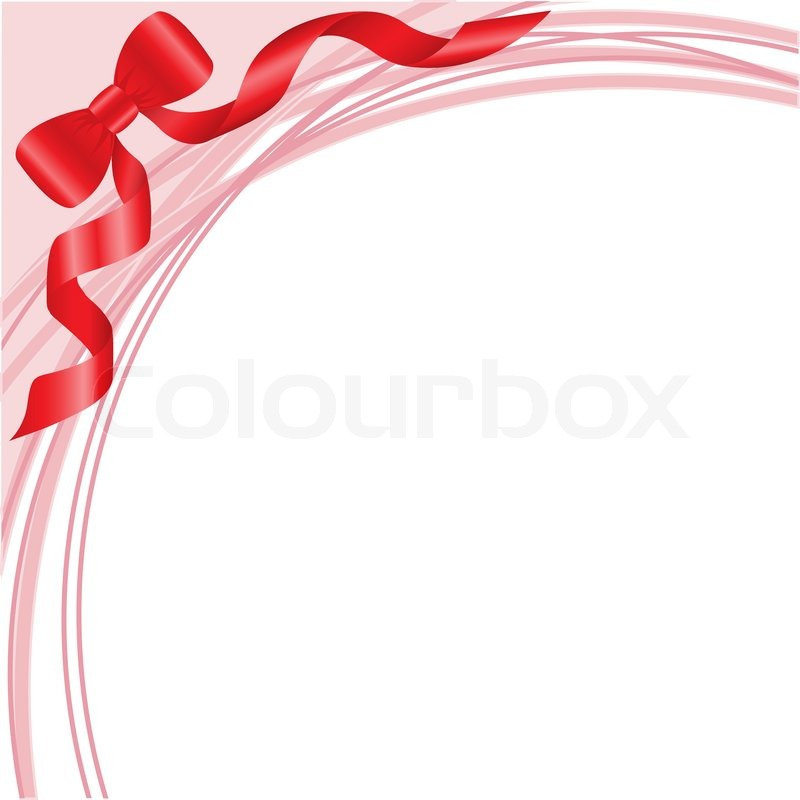 Red Bow On White Background With Pink Arcs Stock Vector
