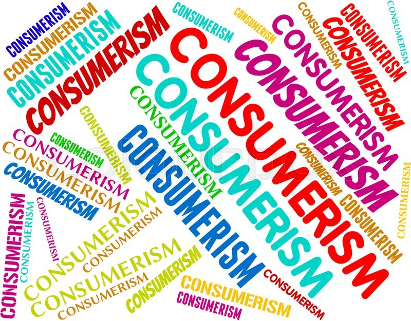 Consumerism Words Represents Commercial Activity And Commerce, stock photo