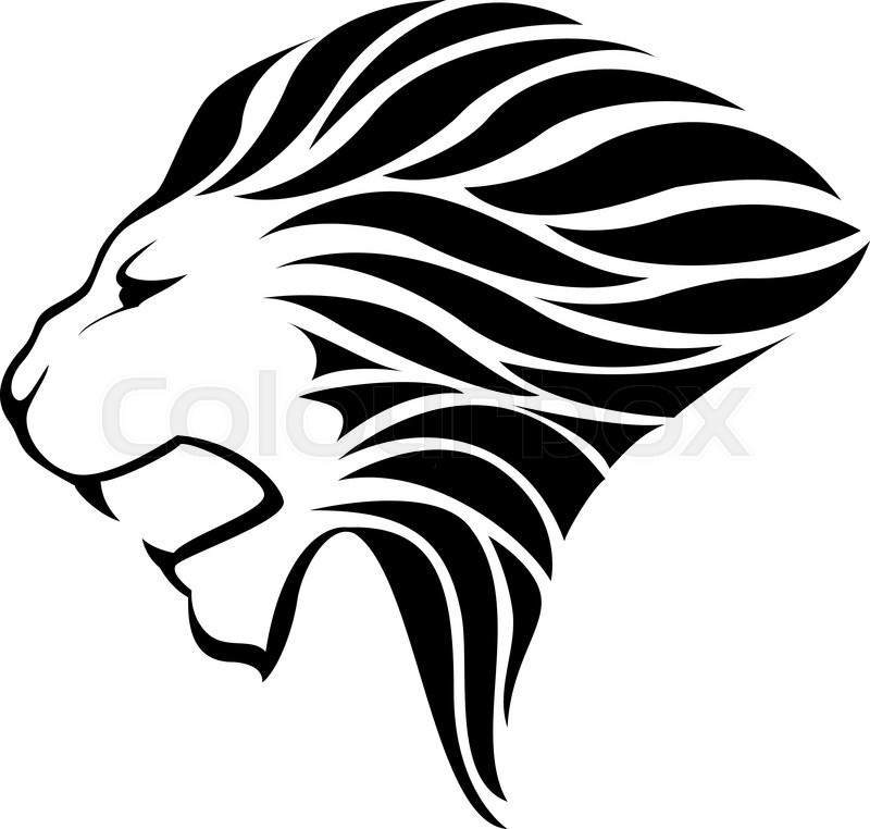 Lion head silhouette on white background - vector ...