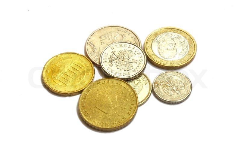 Münzen Der Verschiedenen Länder Euro Rubel Groshy Auf Einem