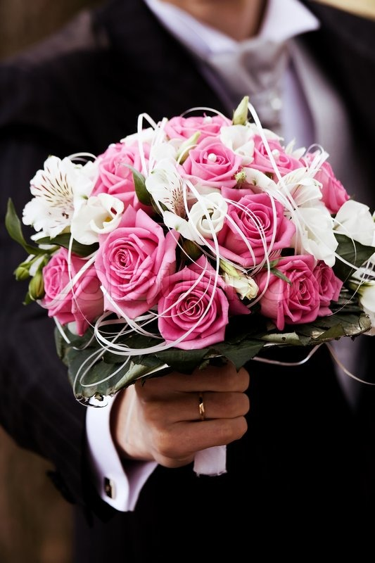 Groom With Wedding Bouquet Of Pink And Stock Photo Colourbox