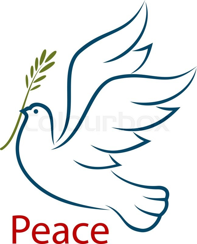 Flying Dove With Olive Branch As A Abstract Symbol Of Peace And