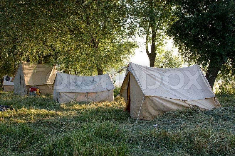 Beautiful And Natural Camping Site On A Bright Summer Day Stock Photo Colourbox