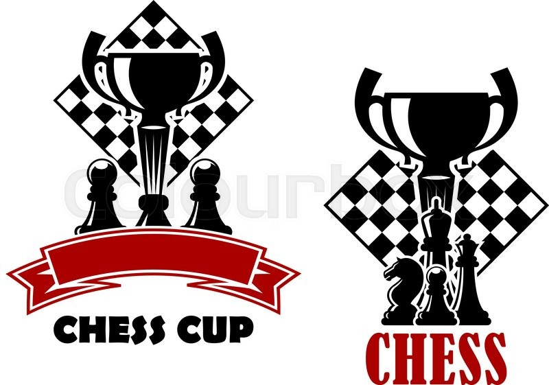 chess cup tournament emblems or logo design templates showing turned
