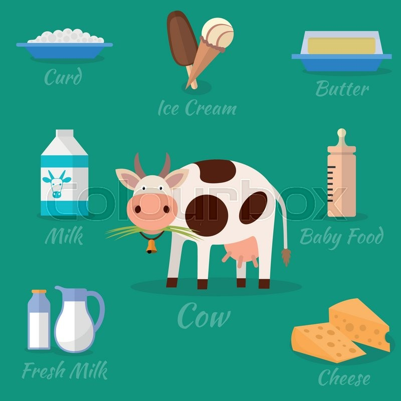 Cow and milk products icons. Food and drink, cheese ...