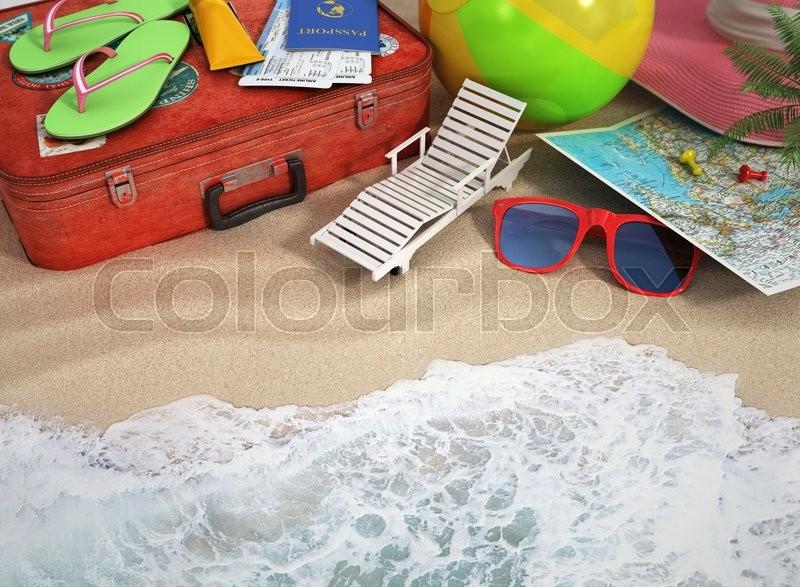 fce39a73b45e Stock image of  Travel concept. Sunbed