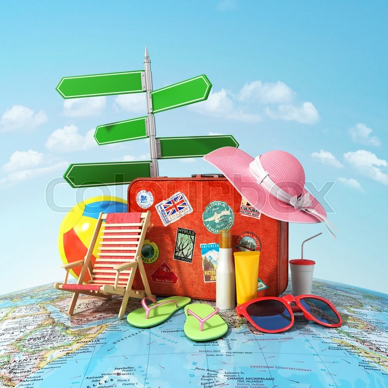 Recreation and travel concept. Road sign, old suitcase for travel, beach hat, beach ball, sunglasses, sun cream and beach shoes on the world map and blue sky. Direction to recreation, stock photo