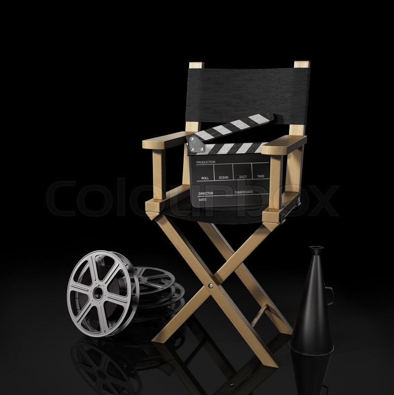 Illustration Of Director Chair, And Over Filmmaker Equipment, Over Black  Background, Stock Photo