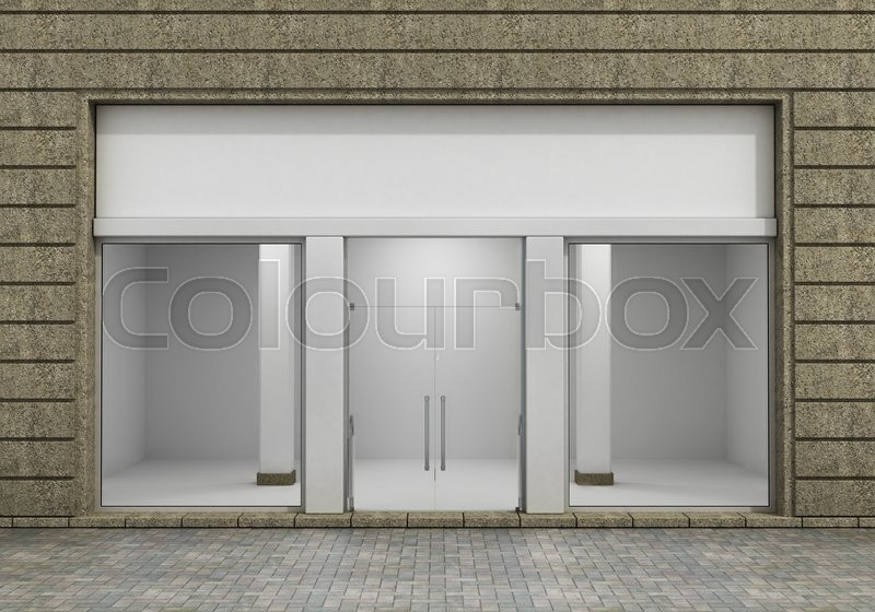 Modern Empty Store Front with Big Window, stock photo