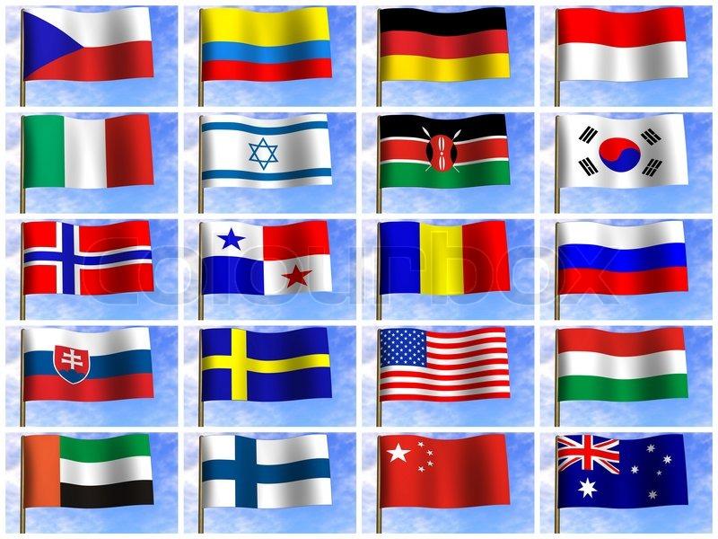 Collage fra flag i de forskellige lande ... | Stock foto | Colourbox