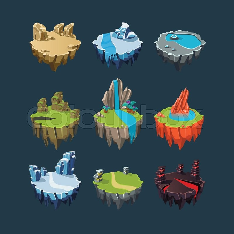 Isometric 3d islands mountains lake waterfall volcano elements for isometric 3d islands mountains lake waterfall volcano elements for games stock vector colourbox ccuart Gallery