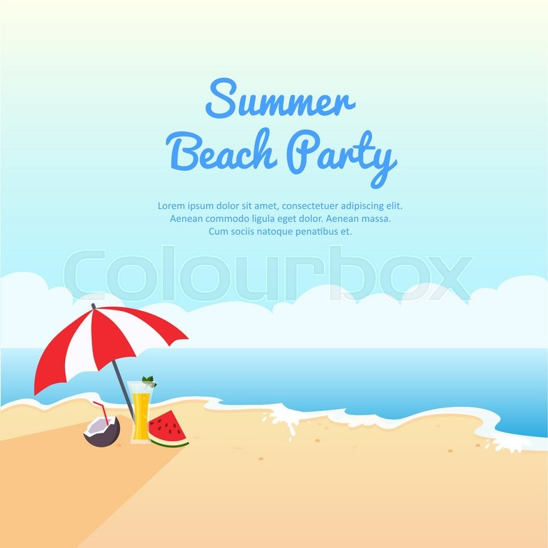 Summer beach party banner, vector illustration with place for your ...