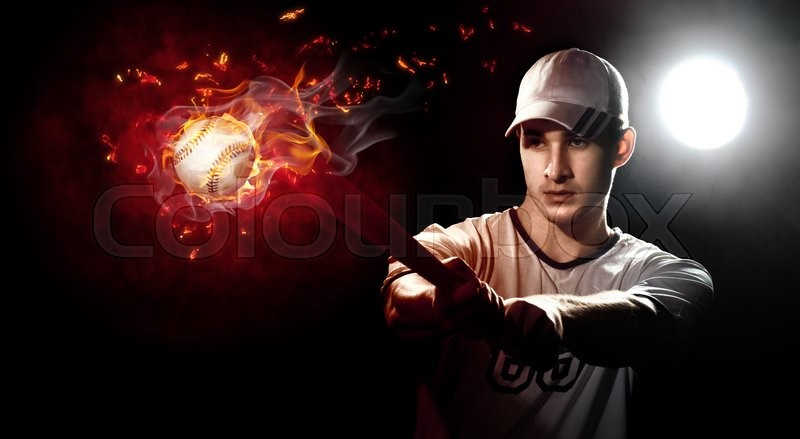 Stock image of 'Baseball player with a bat in stadium'