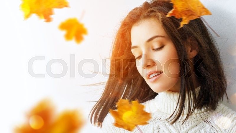 Beauty woman on the white background, stock photo