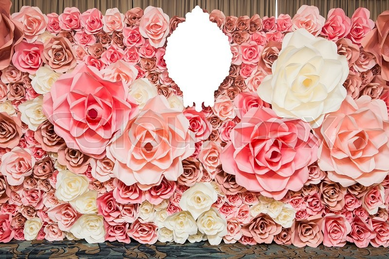 Wedding background pink paper flowers stock photo colourbox stock image of wedding background pink paper flowers mightylinksfo Images