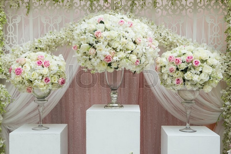 Flower arrangement in silver bowl with pink and white roses stock flower arrangement in silver bowl with pink and white roses stock photo colourbox mightylinksfo