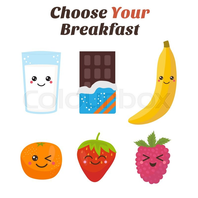 Choose Your Breakfast. Healthy Lifestyle Breakfast. Cute Kawaii Food  Characters. Vector Illustration | Stock Vector | Colourbox