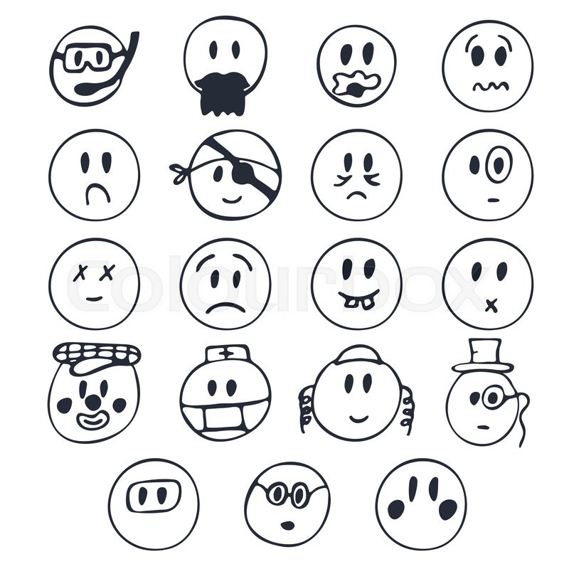 Hand Drawn Faces With Different Emotions Set Of Cute Smiley Faces