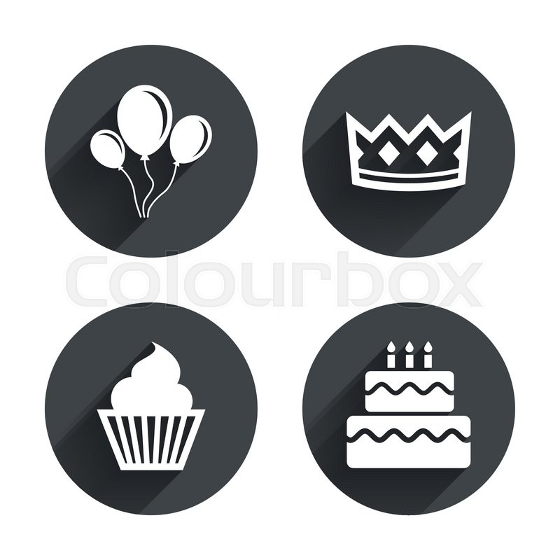Birthday Crown Party Icons Cake And Cupcake Signs Air Balloons