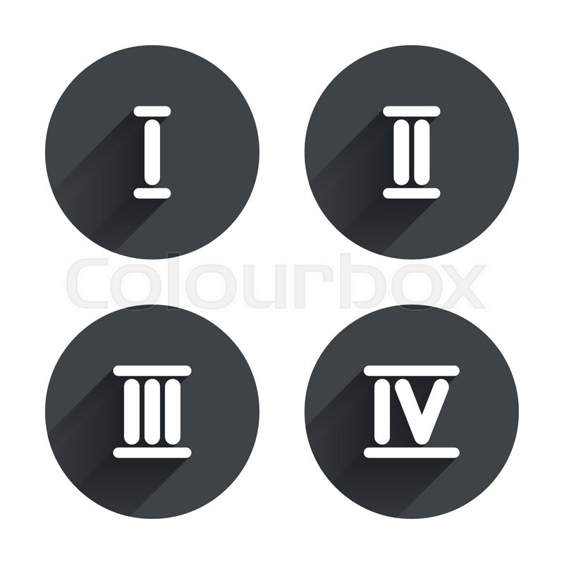 roman numeral icons 1 2 3 and 4 digit characters ancient rome