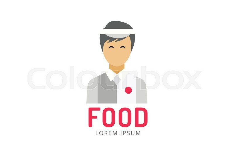 Chinese or japanese fast food man silhouette logo icon template ...