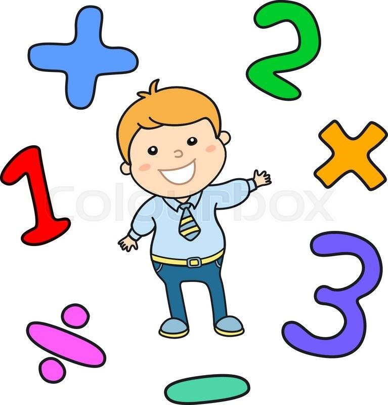 Cartoon style math learning game illustration. Mathematical arithmetic  logic operator symbols icon set. Template for school teacher educational  usage. ...