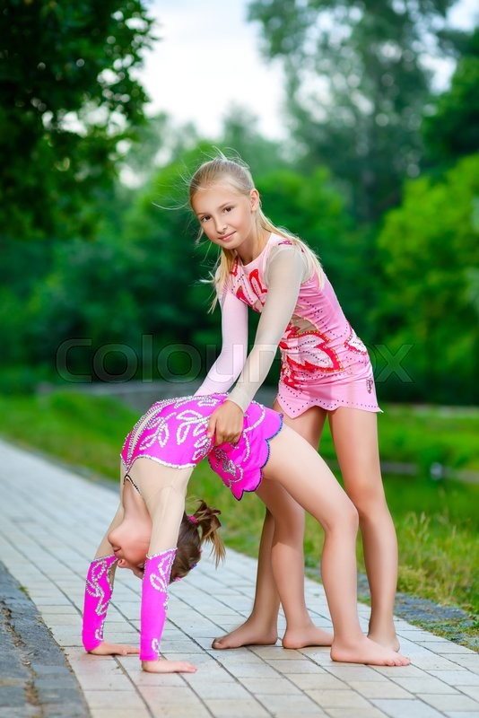 Image Of Flexible Little Girls Doing Gymnastics Split -3853