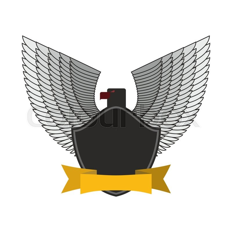 Black Eagle With White Wings Logo Or Emblem Fo Soldiers Yellow