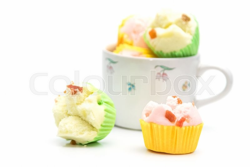 Thai dessert, thai steamed cup cake or cotton cake in cup, stock photo