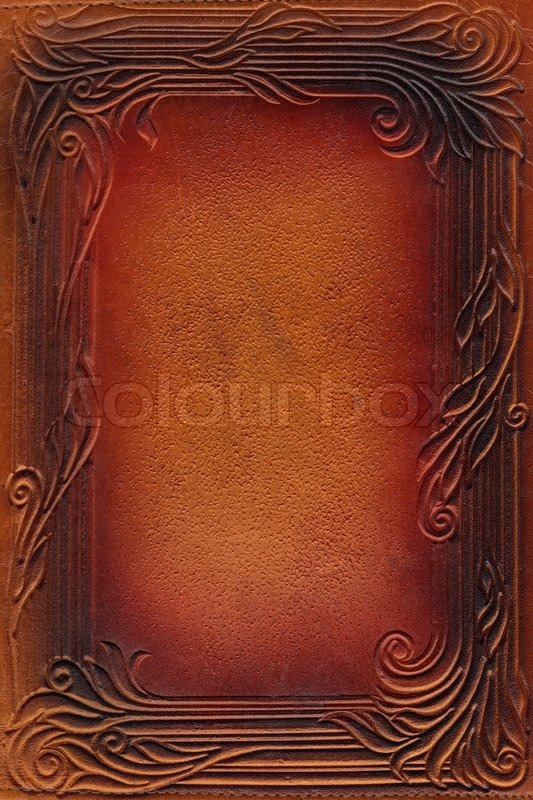 Vintage Book Cover Texture : Brown and red leathercraft tooled vintage book cover with