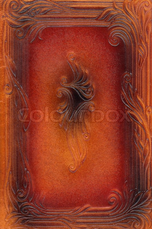 Red Book Cover Texture : Brown and red leathercraft tooled vintage book cover with
