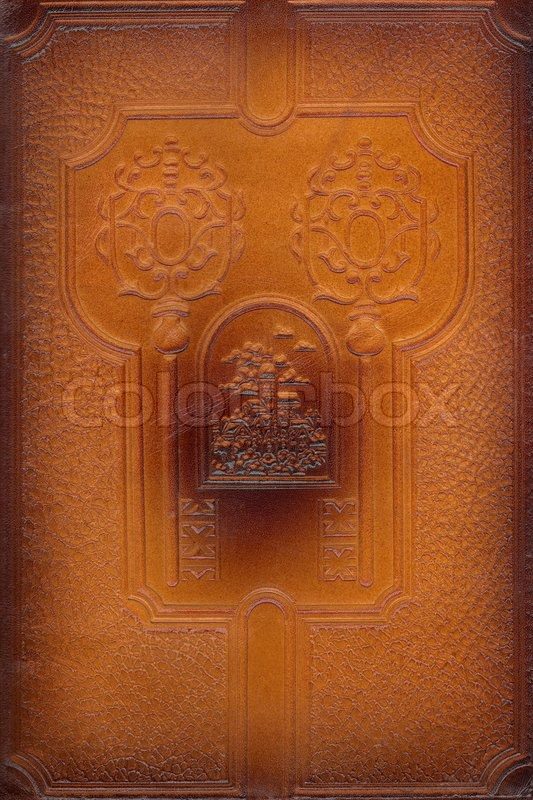 Leather Craft Book Cover : Brown leathercraft tooled vintage book cover with texture