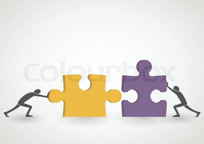 concept of teamwork connecting together yellow and purple pieces