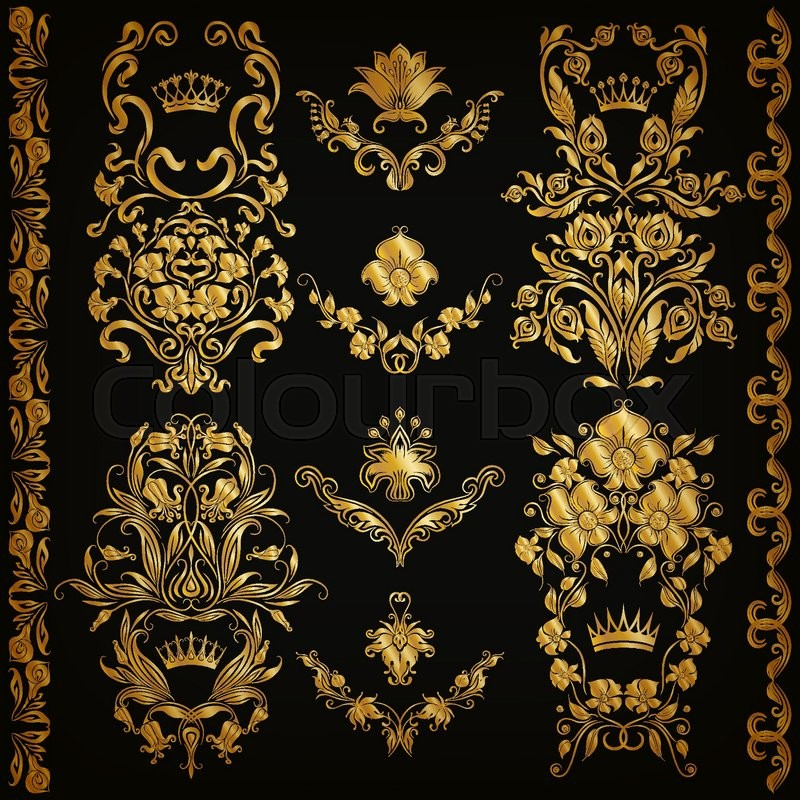 Set of gold damask ornaments floral elements ornate for Arabesque style decoration