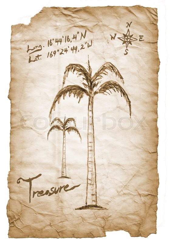 Old Treasure Map With Burned Torn Edges Hand Drawn Palm