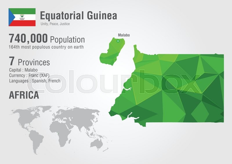 Equatorial Guinea world map with a pixel diamond texture. Wolrd Geography.    Stock Vector   Colourbox