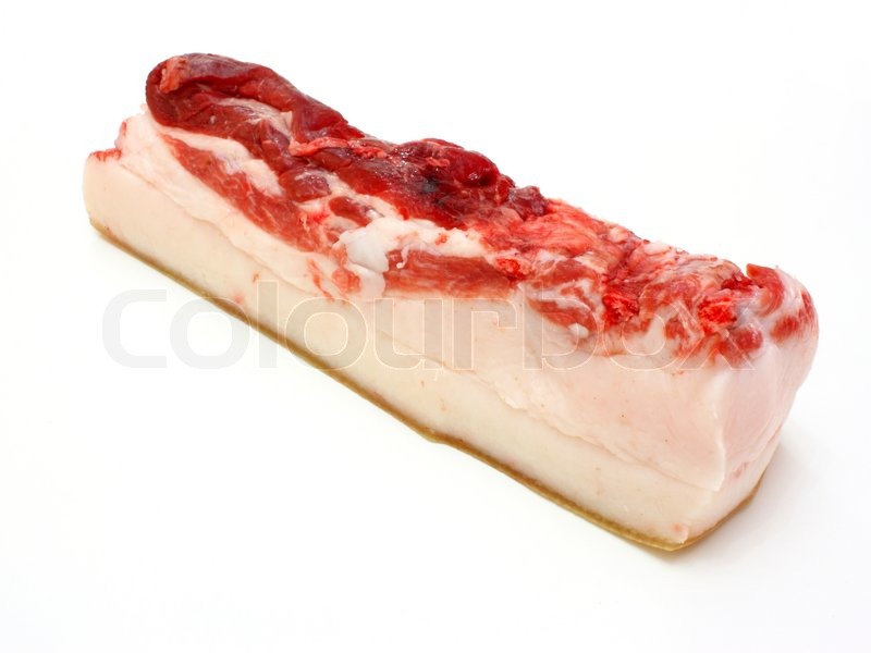 Stock image of 'The big piece of fresh fat with a meat layer on a white background'