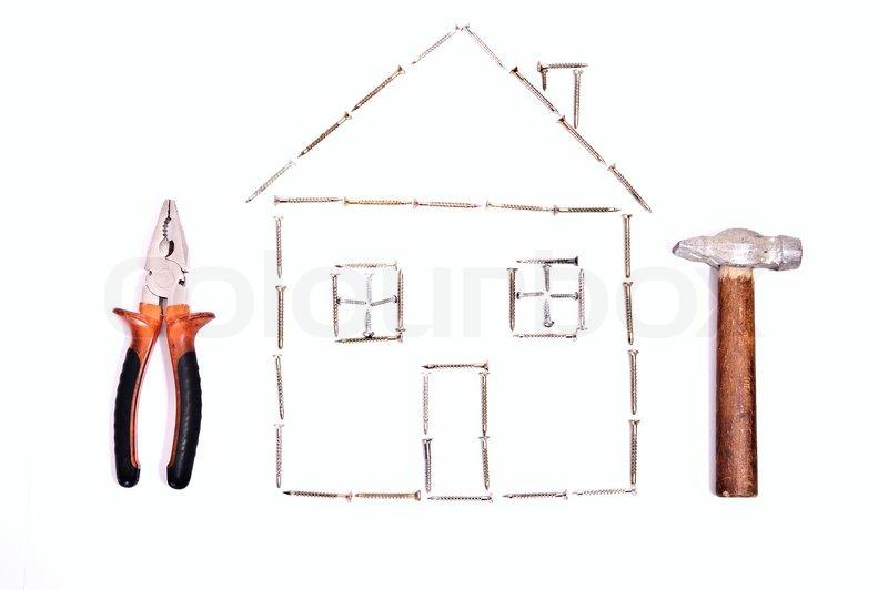 house design mit unterschiedlichen instrumens isoliert auf wei stockfoto colourbox. Black Bedroom Furniture Sets. Home Design Ideas