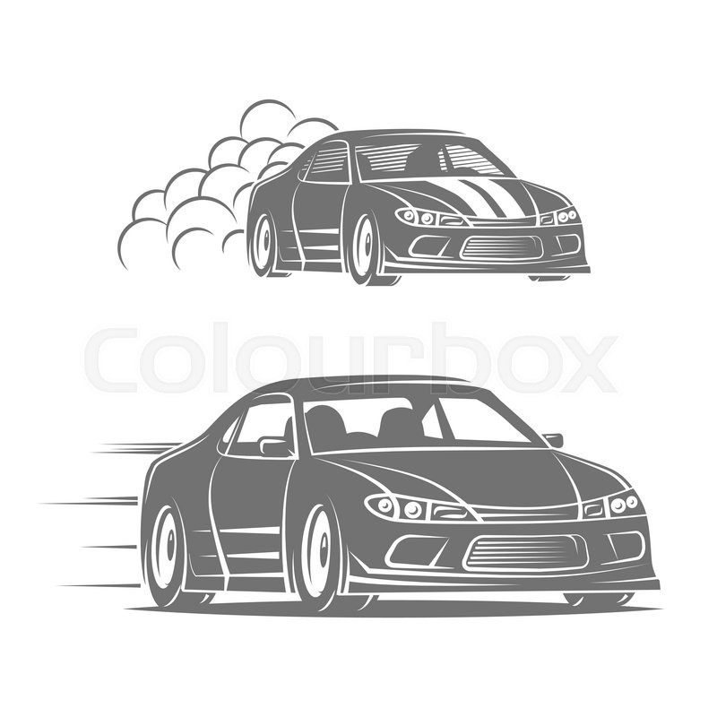 Sport car vector logo design. Street racing illustration. Drift show elements, vector