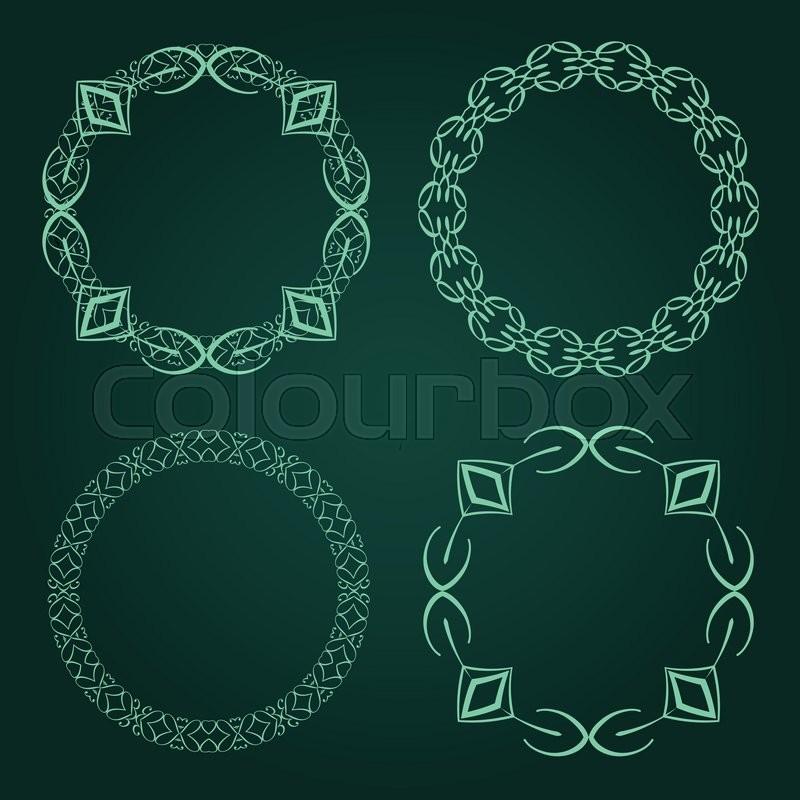 Vector Set Of Calligraphic Circle Frames Vintage Design