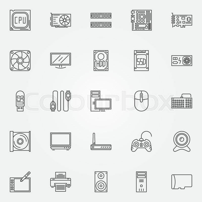 Computer Icons Set Vector Pc Symbols Of Cpu Motherboard Ram