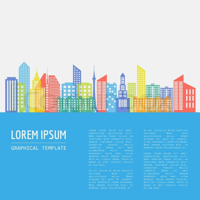 Cityscape graphic template. Modern city architecture. Vector illustration with different modern city buildings, such as office buildings, skyscrapers, houses, entertainments. City constructor. Template with place for text. Colour version, vector