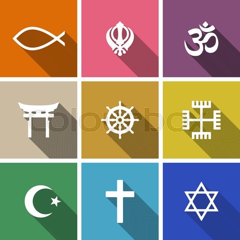 World Religion Symbols Flat Set With Christian Jewish Islam Etc