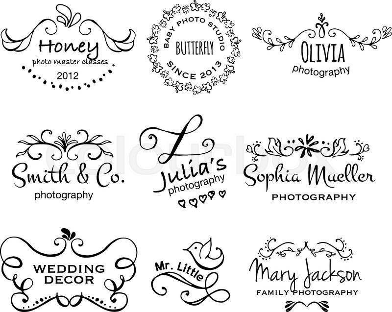 vector collection of photography hand drawn logo templates wedding